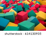 multicolored foam cubes on the... | Shutterstock . vector #614130935