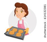 baking woman. beautiful... | Shutterstock .eps vector #614132381
