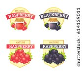 label set raspberry and... | Shutterstock .eps vector #614139011