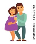 young family expecting child... | Shutterstock .eps vector #614139755