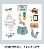 hand drawn fashion vector... | Shutterstock .eps vector #614154395