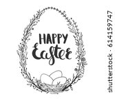 greeting card for easter with... | Shutterstock .eps vector #614159747