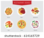 food illustration. restaurant... | Shutterstock .eps vector #614165729