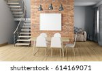 mock up wall in interior with... | Shutterstock . vector #614169071