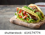 traditional mexican tacos with... | Shutterstock . vector #614174774