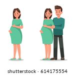 pregnant woman character vector ... | Shutterstock .eps vector #614175554