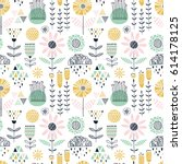 colorful seamless floral pattern | Shutterstock .eps vector #614178125