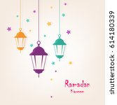 colorful hanging lamps with... | Shutterstock .eps vector #614180339