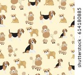 dog pattern on yellow...   Shutterstock .eps vector #614180885