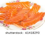 sliced salmon isolated on white ... | Shutterstock . vector #61418293