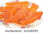 sliced salmon isolated on white ... | Shutterstock . vector #61418293