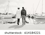black and white rear view of a... | Shutterstock . vector #614184221