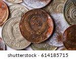 rusty soviet coin   Shutterstock . vector #614185715
