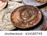 rusty soviet coin   Shutterstock . vector #614185745