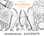 pub food frame vector... | Shutterstock .eps vector #614194679