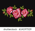 embroidery colorful floral... | Shutterstock .eps vector #614197529