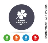 clover with four leaves sign... | Shutterstock .eps vector #614199605