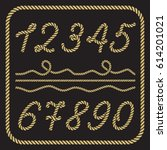 gold numbers made from nautical ... | Shutterstock .eps vector #614201021