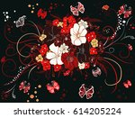 colorful decorative bouquet of... | Shutterstock . vector #614205224