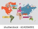 international world map with... | Shutterstock .eps vector #614206001