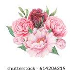 hand painted watercolor... | Shutterstock . vector #614206319