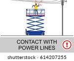scissor lift and elevated work... | Shutterstock .eps vector #614207255