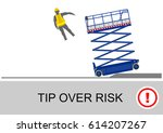 scissor lift and elevated work... | Shutterstock .eps vector #614207267