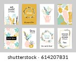 set of artistic creative spring ... | Shutterstock .eps vector #614207831