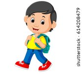 vector illustration of cute boy ... | Shutterstock .eps vector #614208479