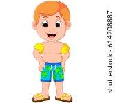 vector illustration of boy swim ... | Shutterstock .eps vector #614208887