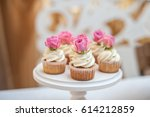 a few chocolate cupcakes | Shutterstock . vector #614212859