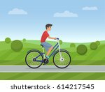 young man riding a sport bike... | Shutterstock .eps vector #614217545