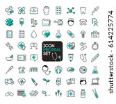 icon medical set.vector... | Shutterstock .eps vector #614225774