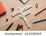 croosword made of game cubes... | Shutterstock . vector #614228369