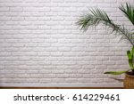 Wall Of White Bricks Next To A...