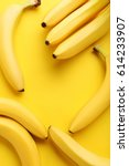 sweet bananas on the yellow... | Shutterstock . vector #614233907
