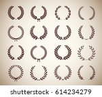 collection of sixteen circular... | Shutterstock .eps vector #614234279
