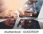 co working team meeting concept ... | Shutterstock . vector #614235029