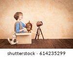 full speed ahead  child pretend ... | Shutterstock . vector #614235299