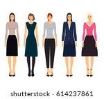woman dresscode vector...   Shutterstock .eps vector #614237861