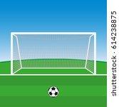soccer goal with football ball. ... | Shutterstock .eps vector #614238875