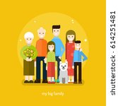 my big family. vector flat... | Shutterstock .eps vector #614251481