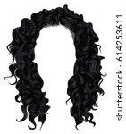 long curly hairs  brunette... | Shutterstock .eps vector #614253611