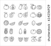 fruit hand drawn icon set in... | Shutterstock .eps vector #614256929