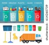 garbage sorting bins... | Shutterstock .eps vector #614260739