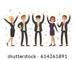 happy business people. vector... | Shutterstock .eps vector #614261891