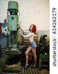 red haired girl wear on short... | Shutterstock . vector #614262179