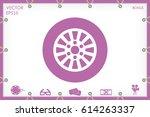 car wheel icon vector... | Shutterstock .eps vector #614263337