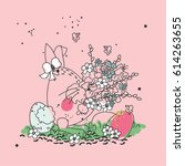 easter bunny with flowers | Shutterstock .eps vector #614263655