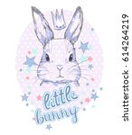 hand drawn little bunny | Shutterstock .eps vector #614264219